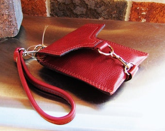 Red leather wristlet, small leather case, small iphone case, credit cards wallet, Custom to fit iPhone 6 or 7