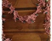 Primitive Homespun Lighted Rag Garland Swag 7.5 Feet Long-Valentines Day--Pink and White--OFG FAAP HaFAIR