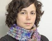 Meadow Flower Handspun Handknit Scarf, Neck warmer, Winter Accessory, Wool Merino Nylon, Organic, Purple, Blue, Pink, Brown, Green