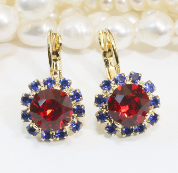 May The 4th Be With You Necklace: Blue Red Earrings Patriotic 4th Of July Crystal Gold Sapphire