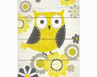 Yellow and Gray Patterned Owl Art Print