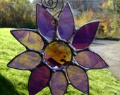 Purple Flowers Stained Glass Daisies Christmas Yule Mothers Day Valentines Wedding Garden Birthday Memorial Original Design©