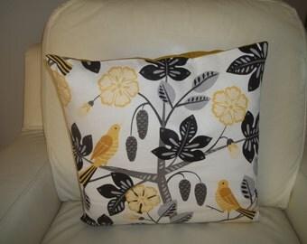Modern Birds Floral Pillow Cover 16 x 16 Yellow & Gray