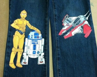 Custom painted Star Wars Jeans 3  characters in choice of shorts or long jeans sizes 12m to 24m, 2, 2T to 12