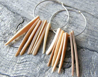 Shell Spike Earrings, Sterling Silver Hoops, Tusk Tribal Earrings