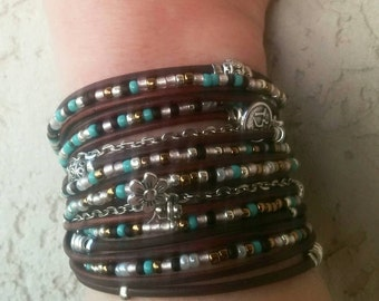 Boho Leather Wrap Bracelet// Bohemian Jewelry// Brown Stacking Leather Cuff// Turquoise Jewelry// Choose FOUR Charms