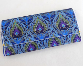 Womens Wallet / Peacock Feathers  / Cell Phone / Checkbook Pocket / with or without Key Fob