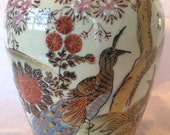 Beautiful Satsuma hand painted vase, made in Japan. Beautiful peacocks and cherry blossoms, with gold accents.