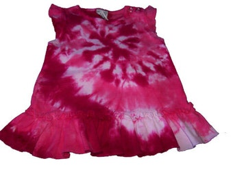 Tie Dyed Hot Pink and Fuchsia Spiral Tie Dyed Infant Ruffle Dress