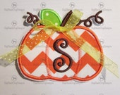 Pumpkin with Monogram - All Letters Available  Iron On Embroidered Applique