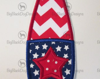 Patriotic Surf Board - Iron On or Sew On Embroidered Applique