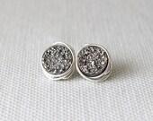 Silver Druzy Earrings | Druzy Stud Earrings | Bridesmaid Silver Earrings [Eclipse Wirewrapped Earrings]