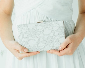 Bridal Box Clutch | Wedding Purse | Bridesmaid Clutch | Gray Lace Clutch [Antoinette Box Clutch: Dove Gray on Ivory]
