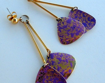 Purple Lavender and Gold Tone Dangle Earrings Light weight Disco Style For Her