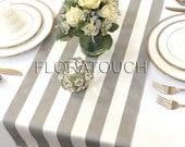 White and Gray Stripe Table Runner Wedding Table Runner with gray stripes on the borders