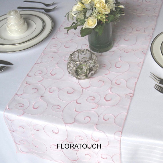 Pink Swirl Embroidered Organza Wedding Table Runner