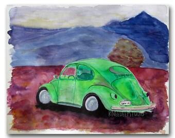 Volkswagen VW Bug Watercolor Painting Fine Art for Sale Modern Contemporary Decor 11x14 Classic Car 1960s Automotive Art Green Beetle Art