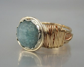 Aquamarine Ring, Blue Aquamarine, Gold Filled Ring, Wire Wrapped Ring, March Birthstone Ring, Statement Jewelry, Stone Ring