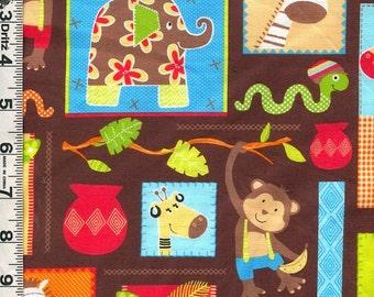 Fabric Marcus Monkey Mates Kids Colorful Jungle Animals Monkeys Elephant Snake Giraffe collage on brown