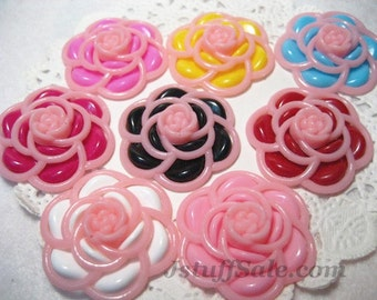 Camellia cabochons 30mm - 8 pcs set (A220)