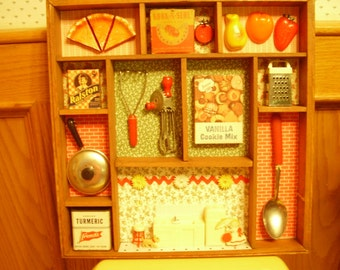Vintage Country Kitchen Shadowbox