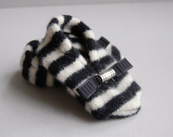 Black & White Stripe Felted booties - Ready to ship