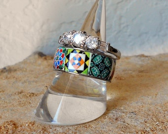 Portugal Antique Azulejo Tile Replica Stainless Steel STACKABLE  Ring Set US size 6 1/2, 17mm, N, SAUDaDE - OOAK