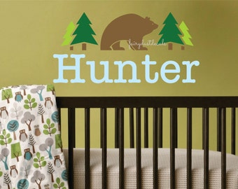 Name wall decal, grizzly bear, brown bear sticker, nursery wall decal, baby boy name, pine tree decals, woodland forest, bear wall art