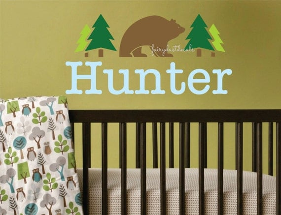Bear wall decal boy wall name woodland forest bear wall decal bear
