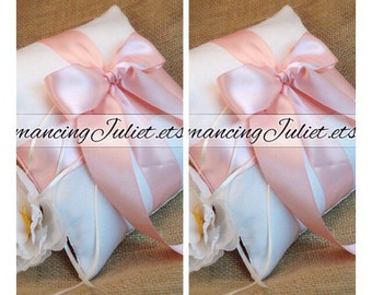 Romantic Satin Ring Bearer Pillow...You Choose the Colors...SET OF 2...shown in ivory/peach