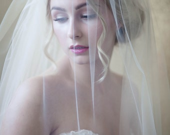 Floor Length Nude Veil with Blusher