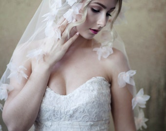 Blush Organza Floral Tulle Veil NORMALLY 400.00