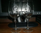 Set Of 2 Star Trek Next Generation Wine Glasses
