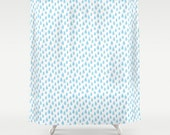 Blue raindrops shower curtain art, turquoise childrens bathroom decor blue home decor rain illustration blue theme bathroom raindrop artwork