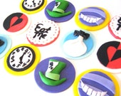 ALICE iN WONDERLAND Cupcake Toppers - Edible Fondant - Mad Hatter, Queen of Hearts, White Rabbit, Cheshire Cat