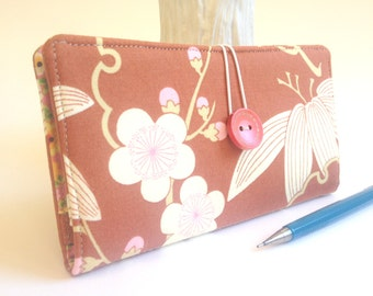 Asian CHECKBOOK COVER Wallet Clutch Billfold in Amy Butler Cherry Blossom Fabric Print Pink and Brown - Trailing Cherry Blossom