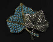 Brooch, Goldtone Sterling Silver, Turquoise, Marcasite, Double Leaf, Winter Pin, Hallmarked SF