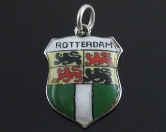 Vintage 800 Silver Rotterdam Netherlands Travelers Shield Coat Of Arms Enamel Charm