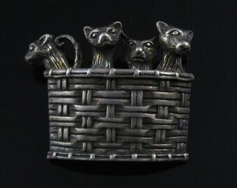 Brooch, Sterling Silver, Cats in Basket, Cute Kittens, 925, Jezlaine, Silver Ornate, Animal Lovers Pin
