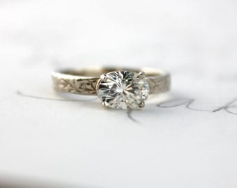 moissanite engagement ring . unique diamond alternative engagement ring . gold engagement ring . made to order by peacesofindigo
