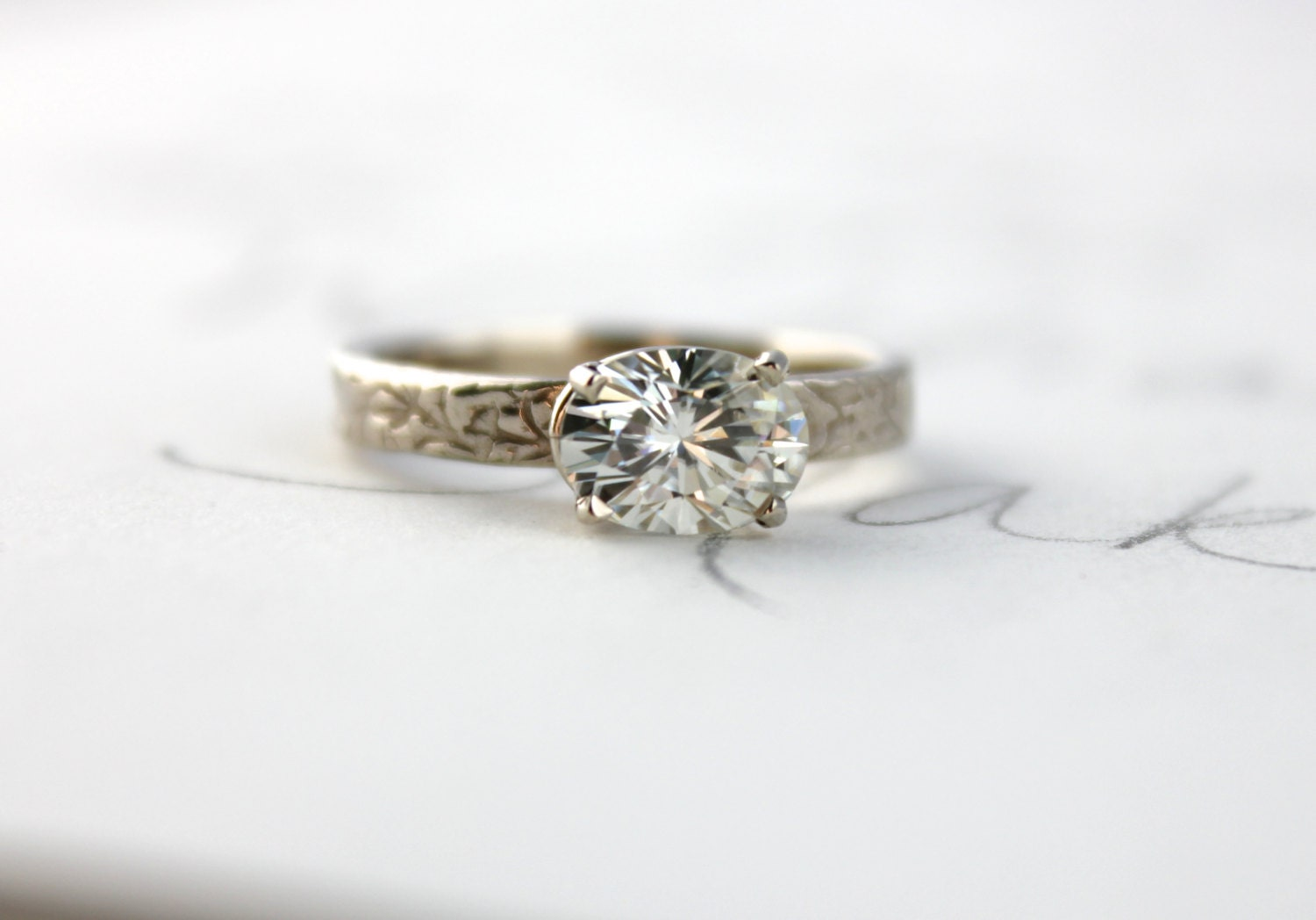 SALE moissanite engagement ring unique engagement ring