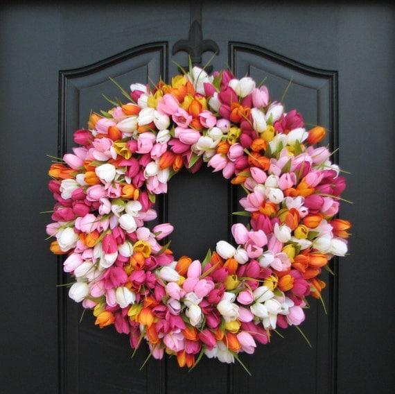 spring tulip wreath front door wreath door wreaths