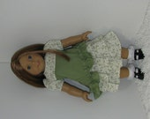 Olive Green Ruffled Skirt and Top, Fits 18 Inch American Girl Dolls