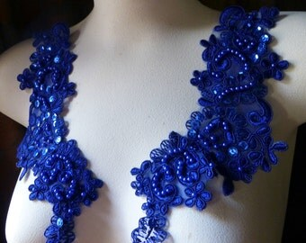 Cobalt Blue Beaded Lace Applique PAIR for Lyrical Dance, Bridal, Headbands, Costume Design PR 612cob