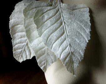Butttercream Ivory Velvet Leaves 3 Very Large for Bridal Headpieces, Hats, Floral Supply, Crafts ML 117