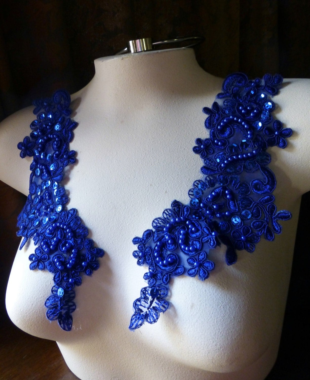 cobalt blue beaded lace applique pair for lyrical