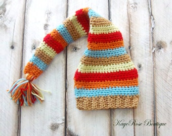 Newborn Baby Boy Elf Stocking Cap Orange Teal Red Lime and Khaki Stripes