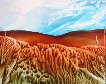 4X6 Tall Grasses Landscape Encaustic (Wax) Original Painting. Brown, Green. Aqua Sky. SFA (Small Format Art)