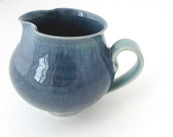 Squatty Little Handmade Pottery Creamer// Small Pitcher in blue