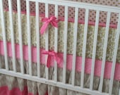Crib Bedding Gold and Pink Ready to Ship